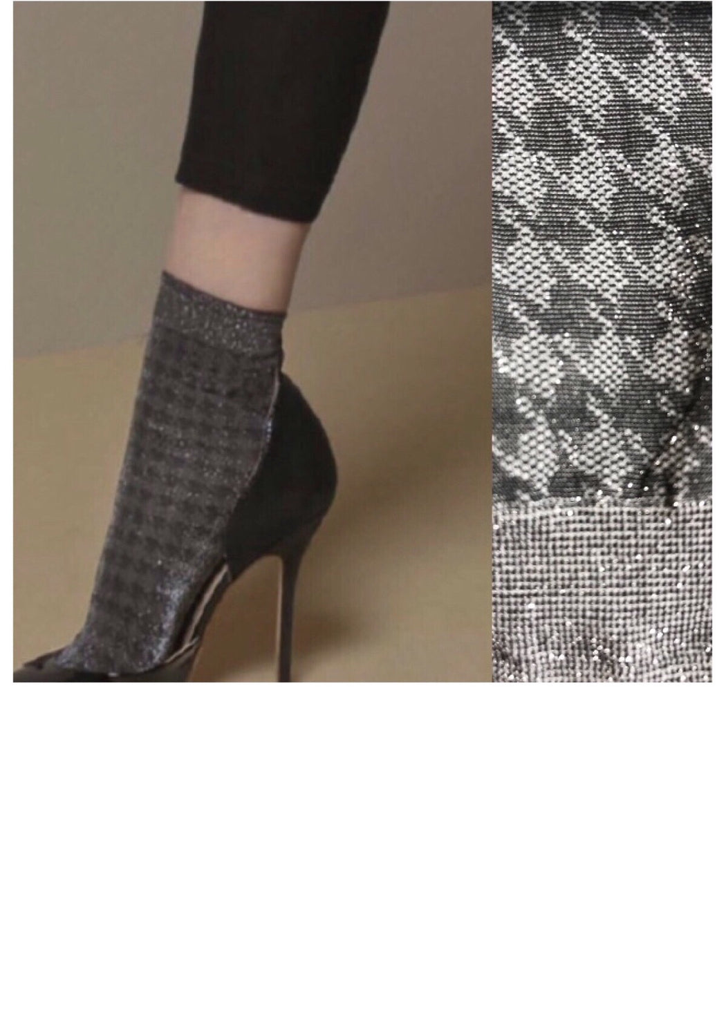 HOUNDSTOOTH GREY SHIMMER SOCKS