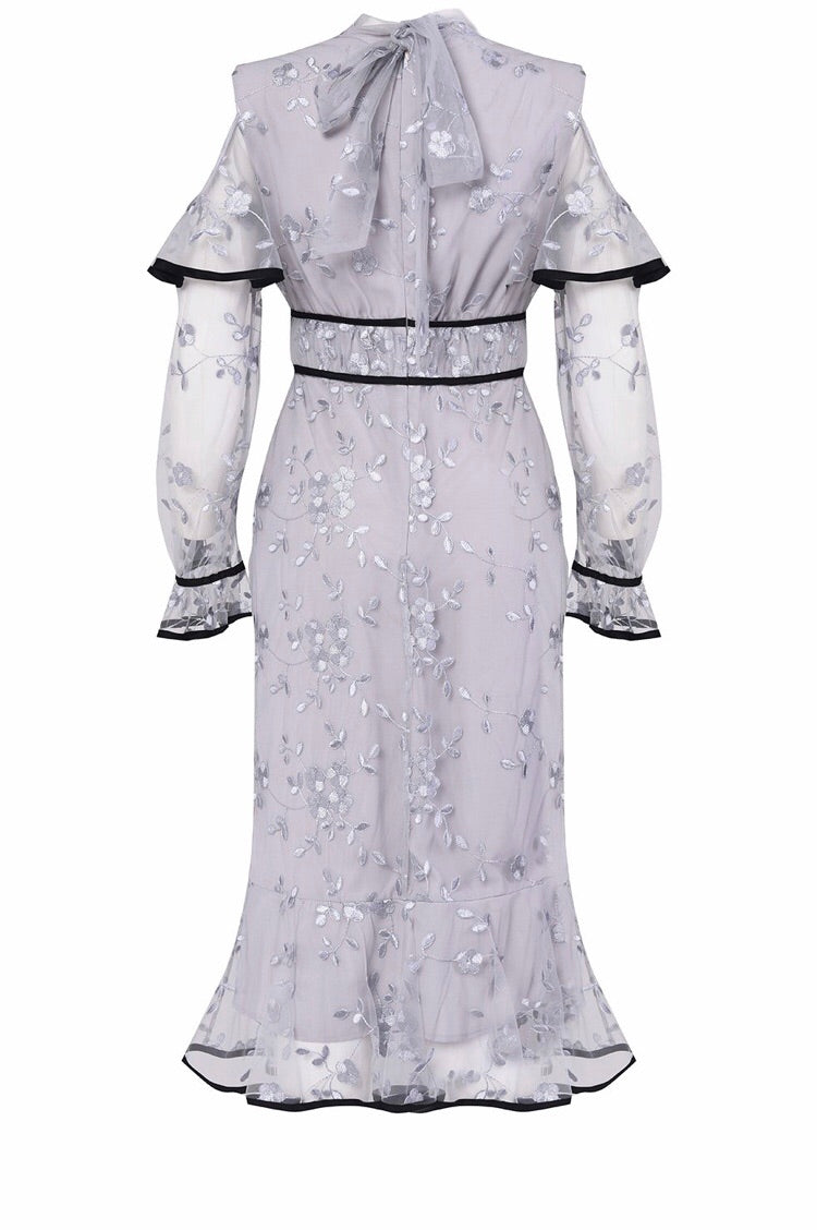 Lilac Grey Long Sleeve Embroidery Cut Out Midi Dress