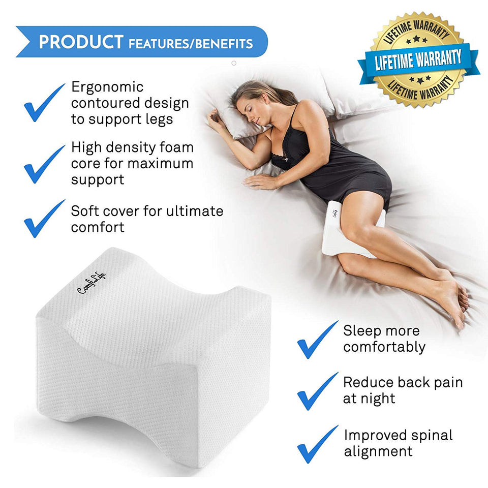 Knee Memory Foam Pillow For Back Sciatic Nerve Hip and Joint Leg Pain Pregnancy