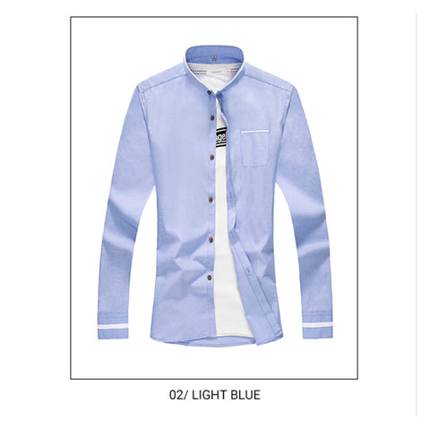 New Fashion Shirt with long sleeves. Stand collar. Shirt of a narrow cut
