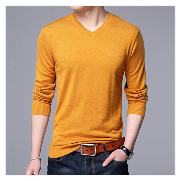 Knitted wool pullover for men