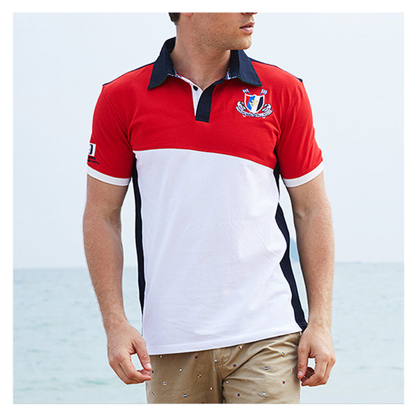 Casual tops with short sleeves for men patchwork 100% cotton
