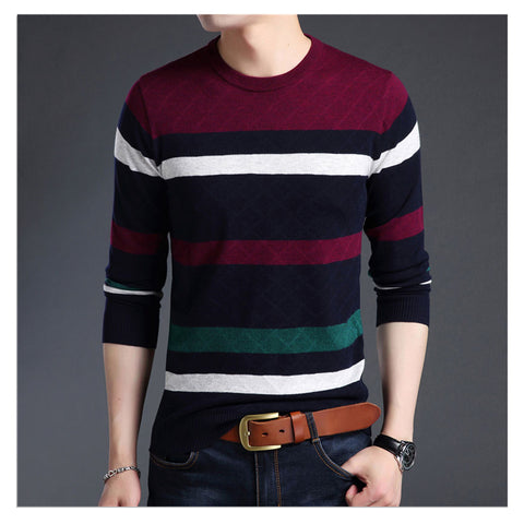 Knitted wool sweater with a round neckline. Novelty