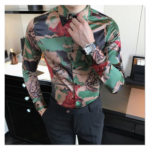 Men Casual Shirts Slim Fit Party Dress Shirt