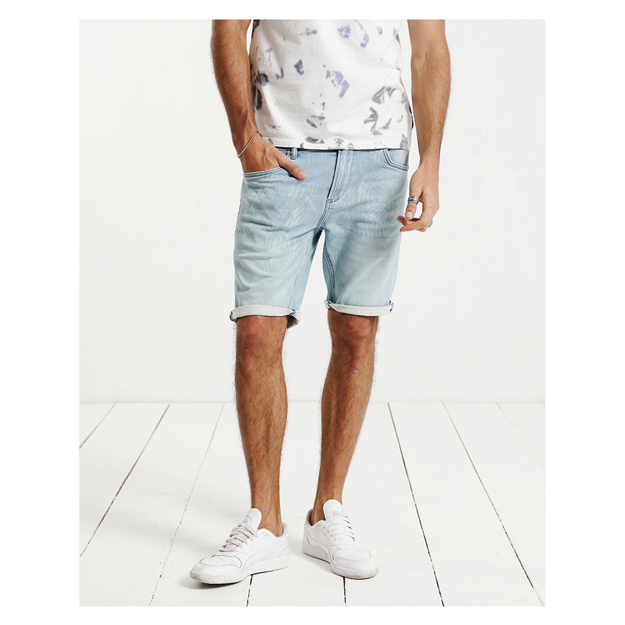 New Summer Denim Fashion Shorts Bleached Slim Fit Knee-Length