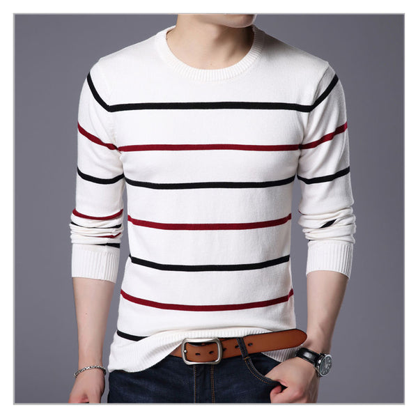 Pullover with round neckline. For men branded clothing