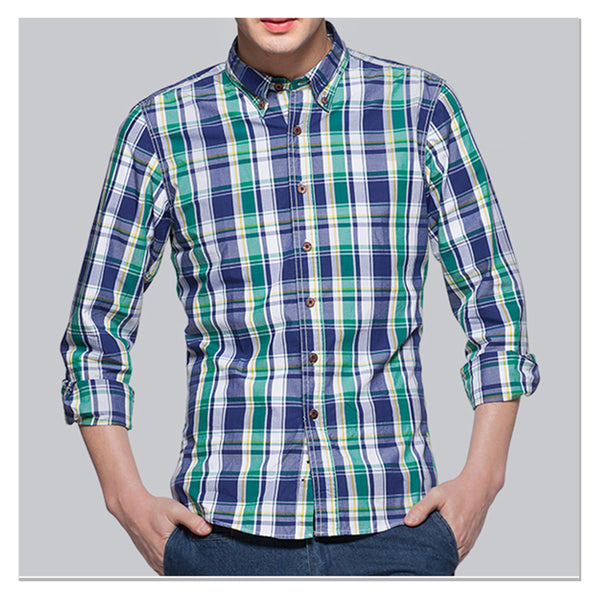 Autumn-spring men's checkered casual shirts Long sleeves 100% cotton