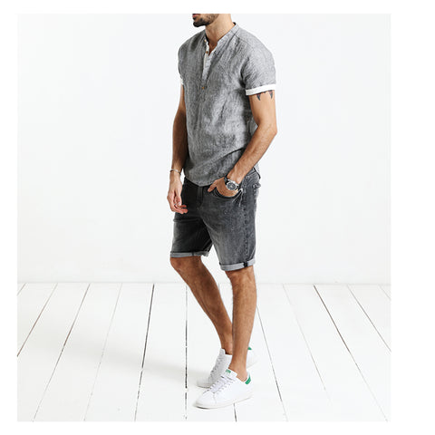 Summer New Denim Shorts Men Fashion  Slim Fit