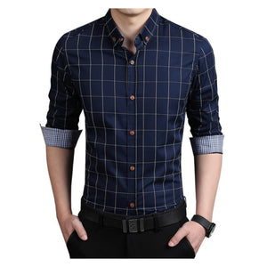 New fashionable brand shirts for men clothing Slim Fit