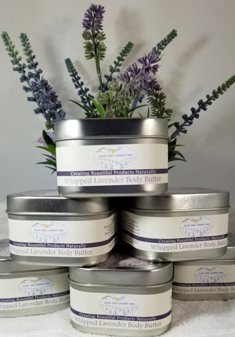 Lavender whipped body butter, shea butter, cocoa butter and various oils create this amazing non-greasy butter.  Use on all your rough spots.