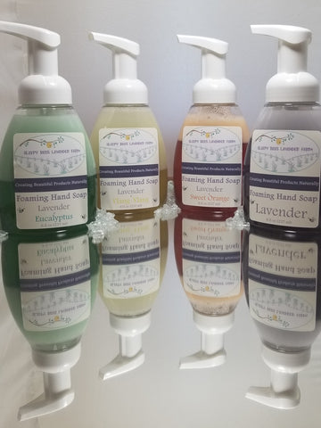 Lavender Essential oil foaming hand soap.  Four varieties Lavender, Lavender Eucalyptus, Lavender Sweet Orange,  Lavender  Ylang Ylang.