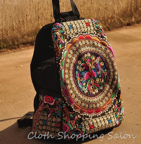 Vintage Embroidery Ethnic Canvas Backpack