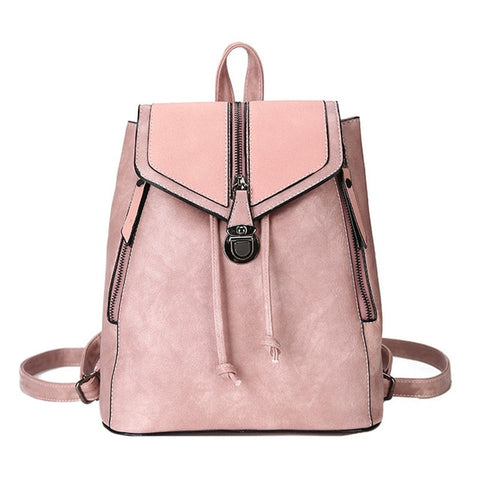 Vintage Matte Leather Women Backpack