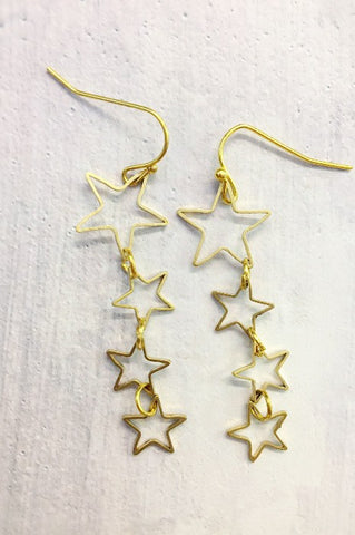 Raw Brass Multi Stars Earrings