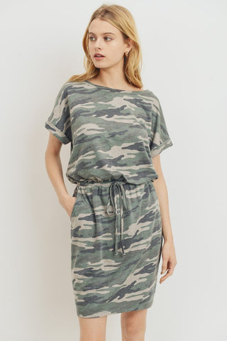 Camo French Terry Drawstring Dress