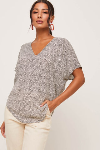 Spotted Printed Blouse Cream/Black