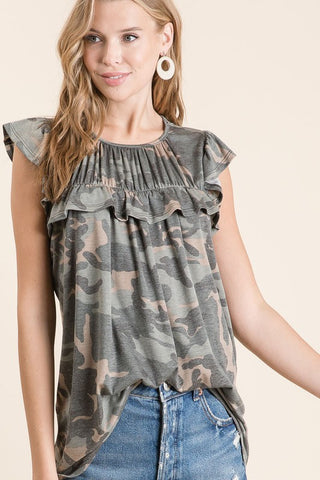 Camouflage Top with Ruffles