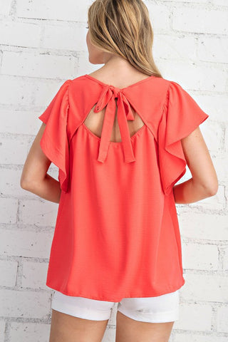 Ribbon Tie Back Top Coral