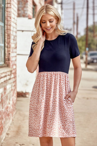 Navy and Dusty Pink Animal Contrast Dress