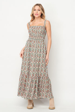 Floral Print Maxi Sage Ditsy Dress