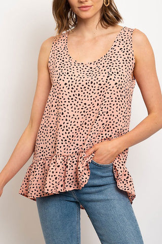 Hem Ruffle Animal Print Top Mauve