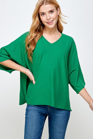 Kelly Green Rib Knit Top