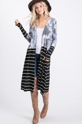 Stripe and Tie Dye Cardigan