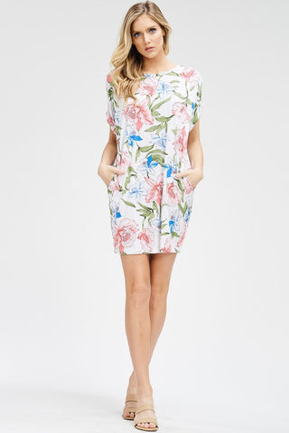 White and Floral Open Back Spring Dress