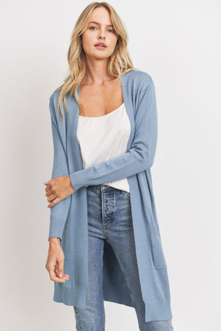 Slate Blue Knit Pocket Cardigan