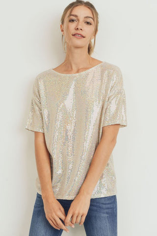 Dannii Sequin Top Ivory