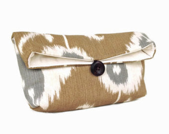 Ikat Clutch Tan and Gray
