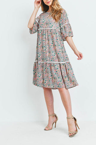 Floral Layered Dress Tan Pink