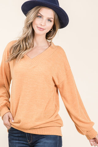 Mustard Banded V-Neck Top