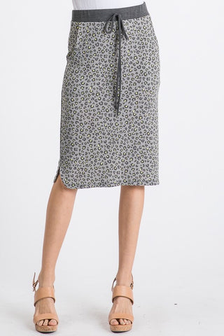 Gray & Neon Animal Print Skirt