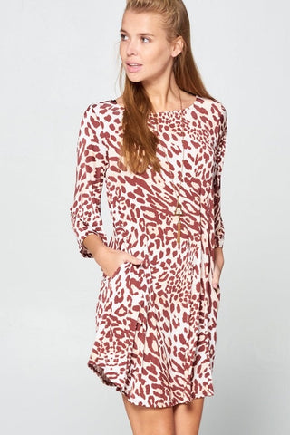 Leopard Print Peek a Boo Dress Beige/Brown