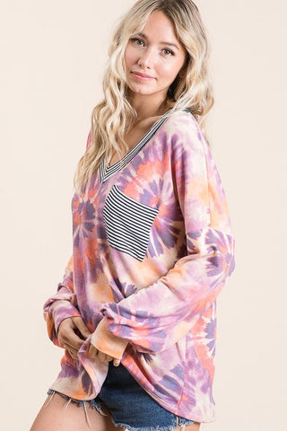 Swirl Tie Dye Top Pink and Purple
