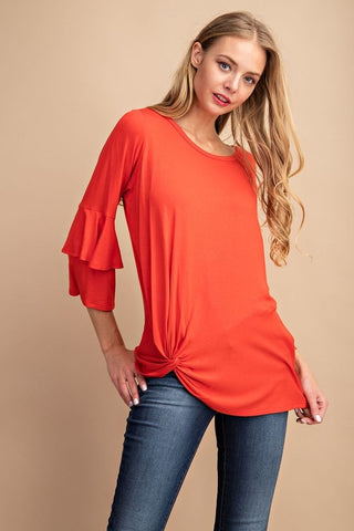 Crepe Ruffle Sleeve Top Red