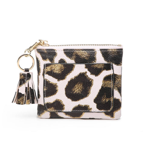 Coin Pouch with ID Holder Metallic Nude Gold Leopard