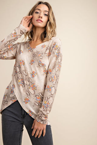 Snake Pattern Surpliced Top