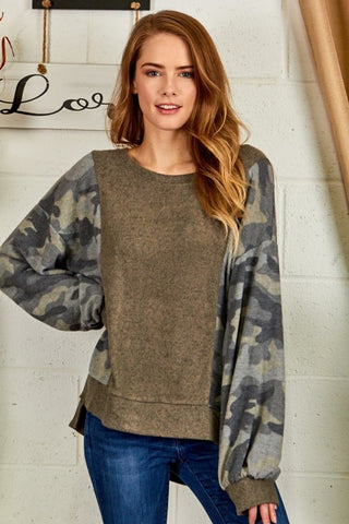 Camo Mix Sweater Olive