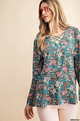 Criss Cross Floral Blouse