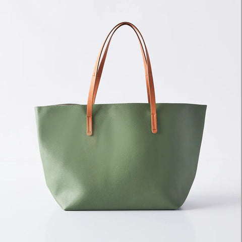 Vegan Leather Tote Green