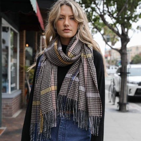 Color Block Houndstooth Scarf