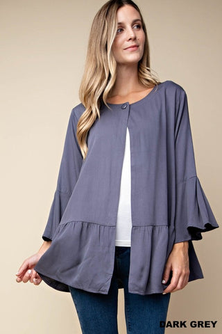 Soft Flounce Jacket Dark Gray / Blue