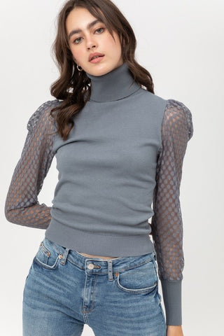 Puff Sleeve with Mesh Detail Light Teal