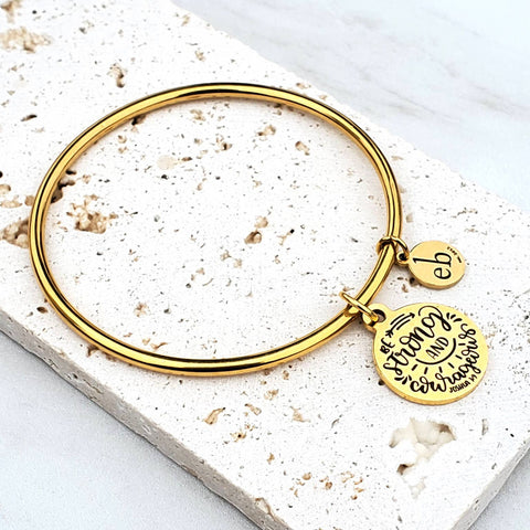 Be Strong and Courageous Gold Charm Bangle
