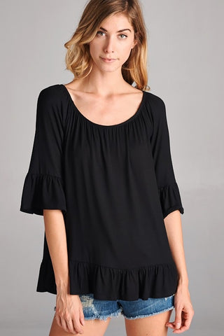 Cute Ruffle Top Black