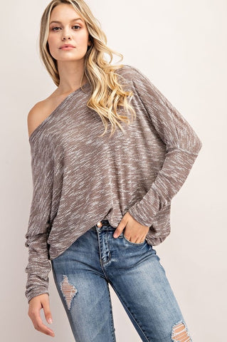 Slub Sweater Dolman Top Taupe