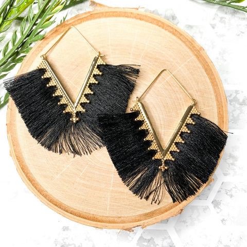 Fabulous Fringe Earrings Black