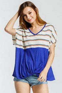 Stripe Royal Blue Raglan Top